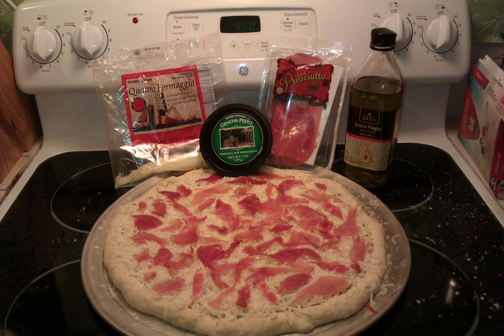 Prosciutto Pizza with Pesto Sauce Recipe
