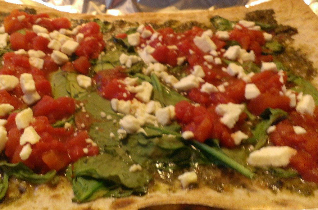 spinach pesto flatbread pizza recipe