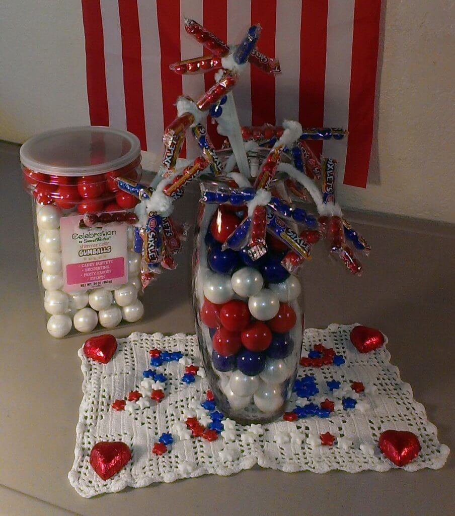 patriotic candy flower display