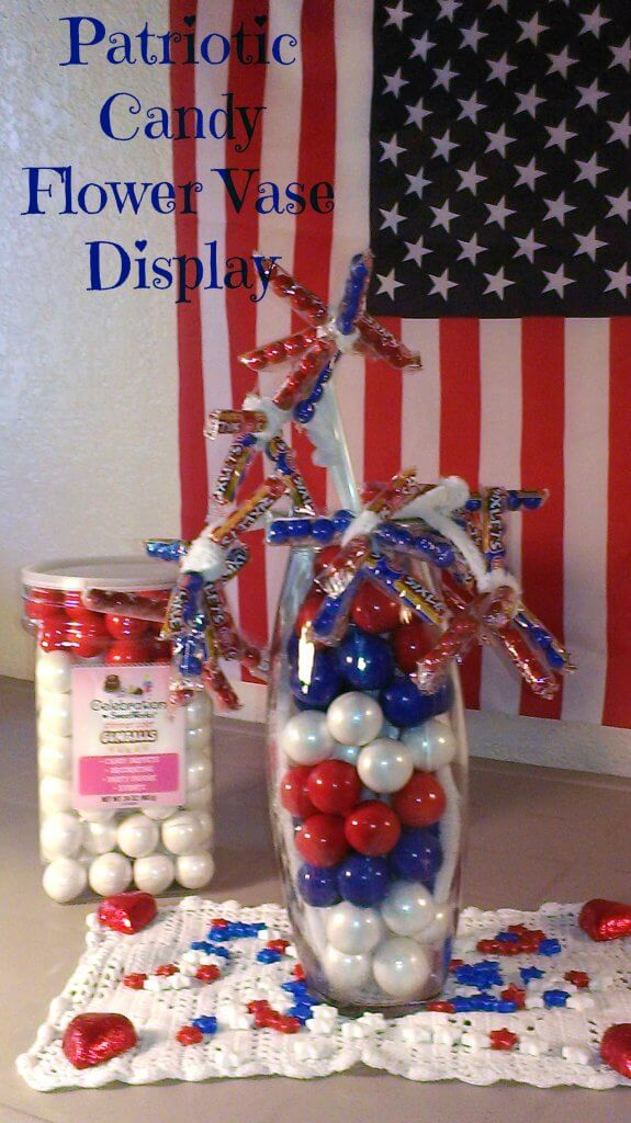 patriotic candy flower vase display