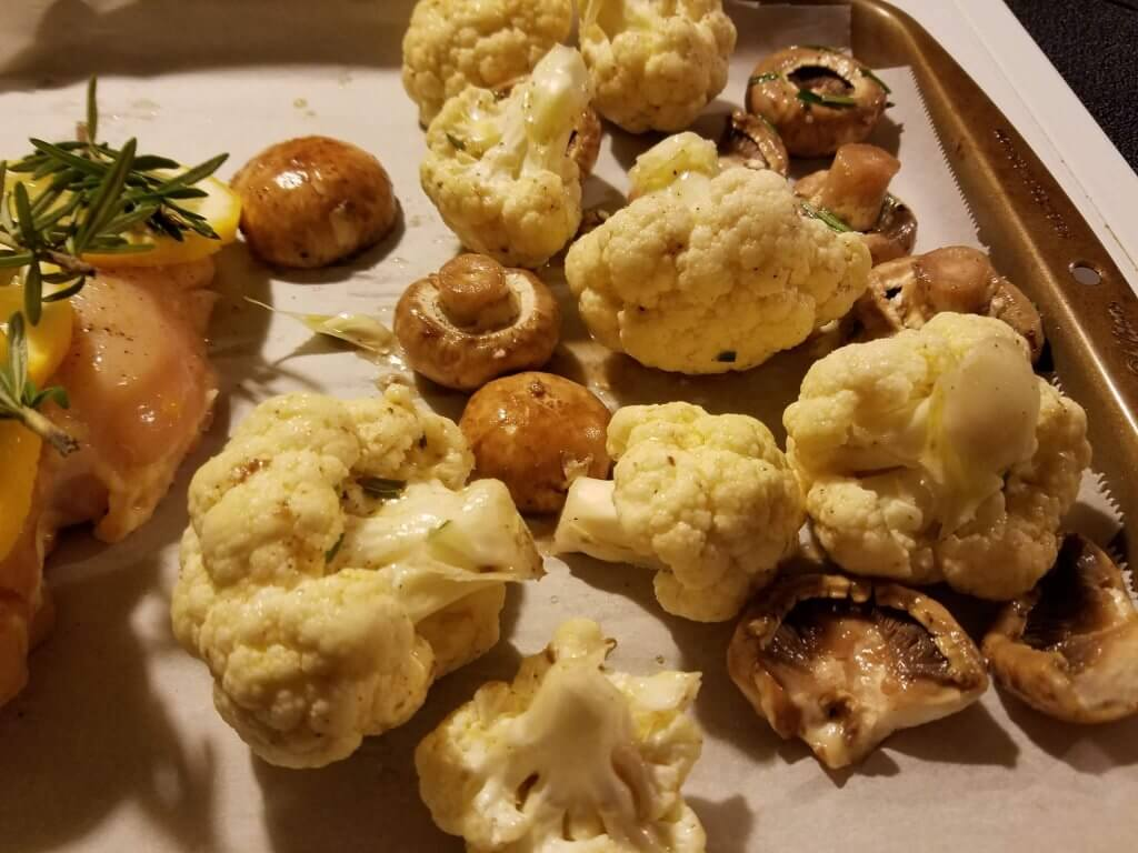one pan roasted cauliflower lemon rosemary chicken